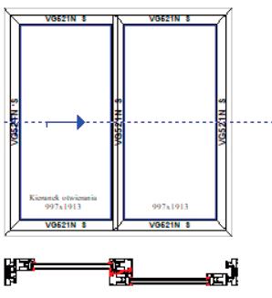 Schemat A skrzydło aktywne i fix. Systemy drzwi przesuwnych Visoglide Plus. Profilnet Tarnowskie Góry Śląsk Gliwice Pyskowice