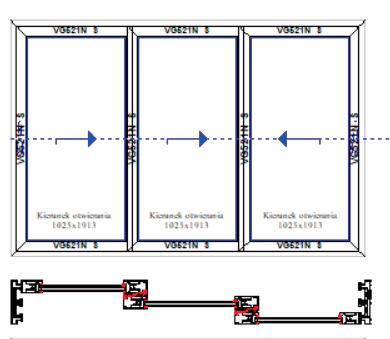 Schemat D+G trzy skrzydła aktywne – system 3-torowy. Systemy drzwi przesuwnych Visoglide Plus. Profilnet Tarnowskie Góry Śląsk Gliwice Pyskowice
