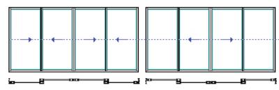 Schemat F i C - cztery skrzydła aktywne lub dwa skrzydła aktywne i dwa fixy. Systemy przesuwne i harmonijkowe Panorama. Profilnet Tarnowskie Góry Śląsk Gliwice Pyskowice