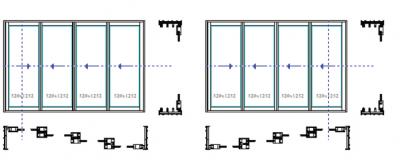 System 4 skrzydeł aktywnych – system 4-torowy. Systemy przesuwne i harmonijkowe Panorama. Profilnet Tarnowskie Góry Śląsk Gliwice Pyskowice