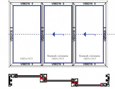 Schemat A+G dwa skrzydła aktywne i fix – system 3-torowy. Systemy drzwi przesuwnych Visoglide Plus. Profilnet Tarnowskie Góry Śląsk Gliwice Pyskowice