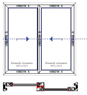 Schemat D dwa skrzydła aktywne. Systemy drzwi przesuwnych Visoglide Plus. Profilnet Tarnowskie Góry Śląsk Gliwice Pyskowice